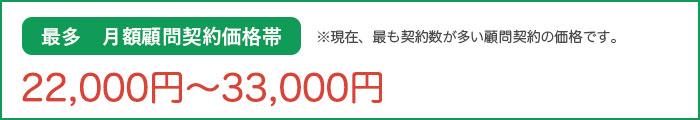 最多 月額顧問契約価格帯 20,000円~30,000円 ※現在、最も契約数が多い顧問契約の価格です。